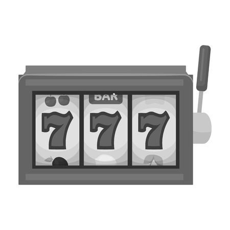 slot in: A slot machine in a casino. An automatic with a lever and a dial.Kasino single icon in monochrome style vector symbol stock illustration.