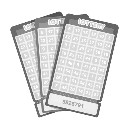 Lottery tickets. Chance to win the jackpot. Gambling in the casino.Kasino single icon in monochrome style vector symbol stock illustration.