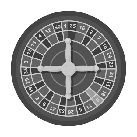 wheel of fortune: Roulette with red and black cells. The most popular casino game in the world.Kasino single icon in monochrome style vector symbol stock illustration.