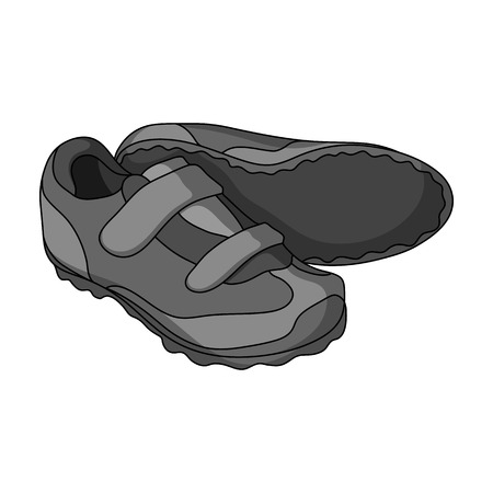 Shoes for cyclists. Special cycling for cycling.Cyclist outfit single icon in monochrome style vector symbol stock illustration. Illustration