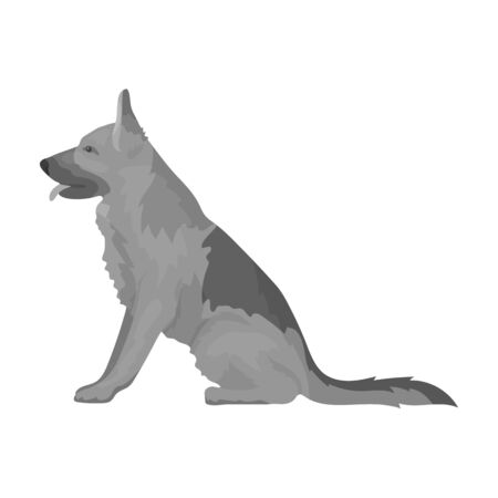 Police dog for detaining criminals. Trained shepherd for prison.Prison single icon in monochrome style vector symbol stock illustration.