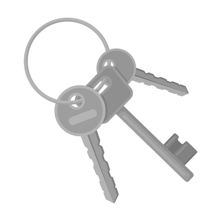 A bunch of keys from the cells in the prison. Keys for opening criminals.Prison single icon in monochrome style vector symbol stock illustration. Illustration