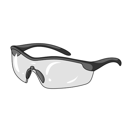 Protection for the eyes of cyclists from falling rocks.Cyclist outfit single icon in monochrome style vector symbol stock illustration.