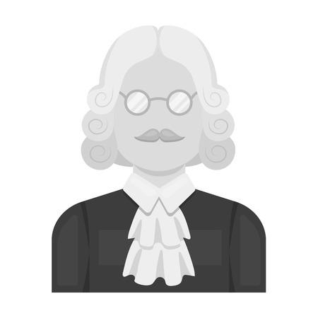 A judge in a wig and glasses. A person who makes a verdict to a criminal.Prison single icon in monochrome style vector symbol stock illustration.