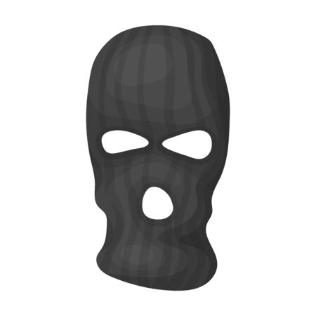 Mask to close the face of the offender from witnesses.Prison single icon in monochrome style vector symbol stock illustration.