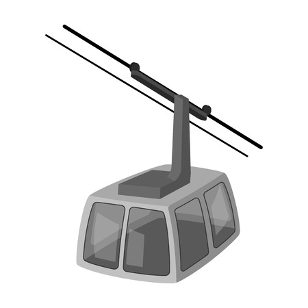 Cable car. Funicular for climbing in the mountains. Holiday winter transport.Transport single icon in monochrome style vector symbol stock illustration.