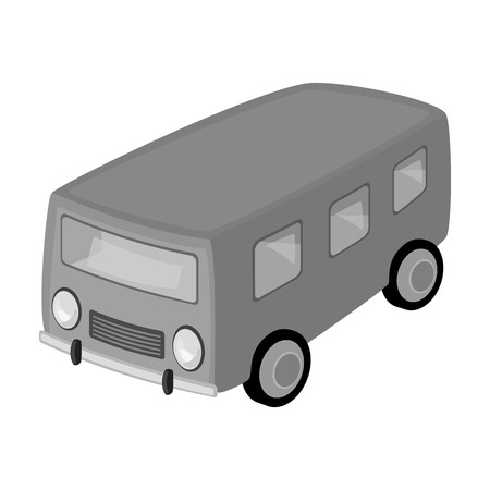 small group of objects: Blue bus for the transportation of a small number of people around the city and the village.Transport single icon in monochrome style vector symbol stock illustration.