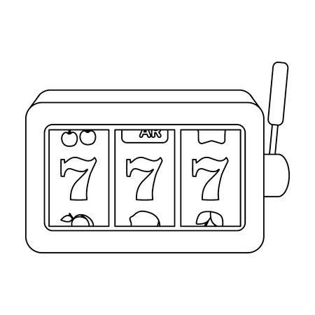 slot in: A slot machine in a casino. An automatic with a lever and a dial.Kasino single icon in outline style vector symbol stock illustration. Illustration