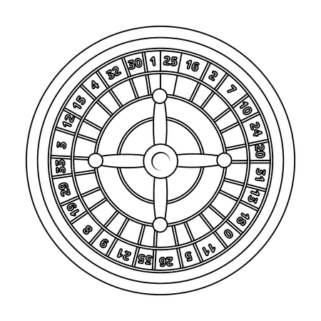 wheel of fortune: Roulette with red and black cells. The most popular casino game in the world.Kasino single icon in outline style vector symbol stock illustration.