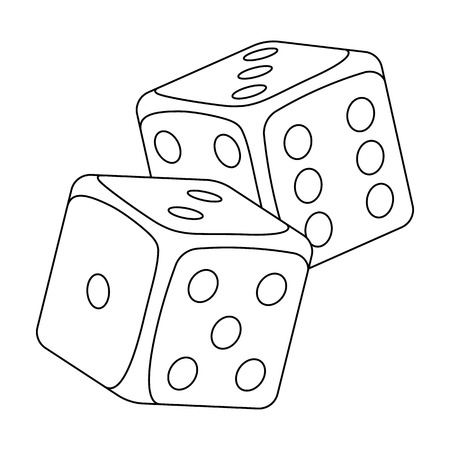 Dice for games in the casino. Stones to throw on the table for good luck.Kasino single icon in outline style vector symbol stock illustration. Illustration