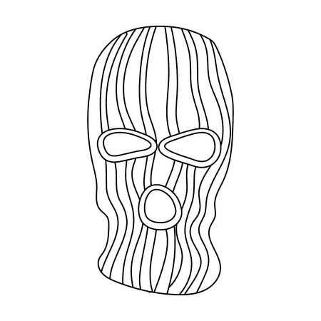 guerrilla: Mask to close the face of the offender from witnesses.Prison single icon in outline style vector symbol stock illustration. Illustration