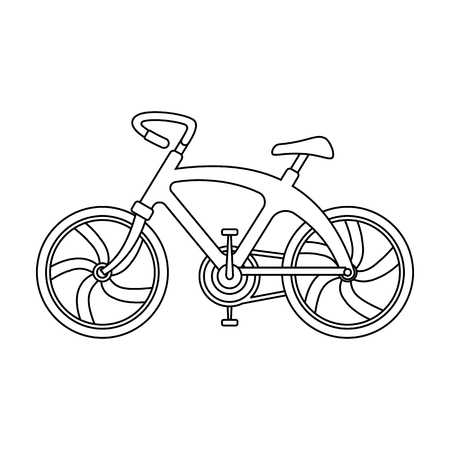 A sports bike for a quick ride down the road. Bicycle ecological economical transport.Transport single icon in outline style vector symbol stock illustration. Çizim