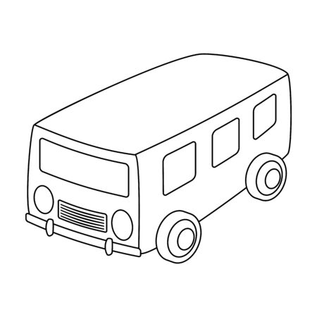 small group of objects: Blue bus for the transportation of a small number of people around the city and the village.Transport single icon in outline style vector symbol stock illustration.