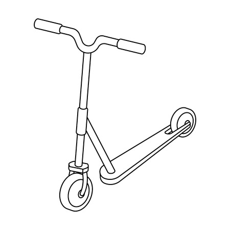 Children red scooter. Transport for children walks.Transport single icon in outline style vector symbol stock illustration.