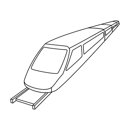 high speed rail: High speed train for transporting people over long distances. railway transport.Transport single icon in outline style vector symbol stock illustration.