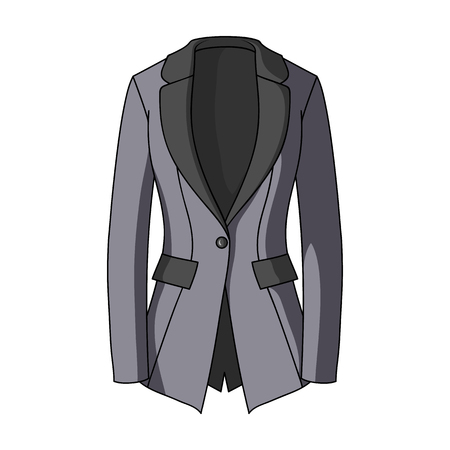 womens work: Grey Womens jacket with pockets. Work austere style.Women clothing single icon in cartoon style vector symbol stock web illustration.
