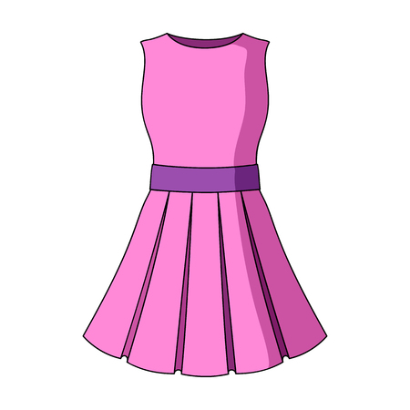 Beautiful light pink summer dress without sleeves. Clothing for a hike to the beach.Women clothing single icon in cartoon style vector symbol stock web illustration. Illustration
