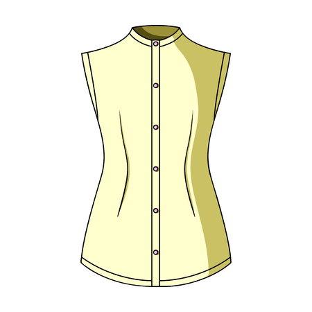 button down shirt: Beige button-down shirt without sleeves for the girl. Casual dress style.Women clothing single icon in cartoon style vector symbol stock web illustration. Illustration
