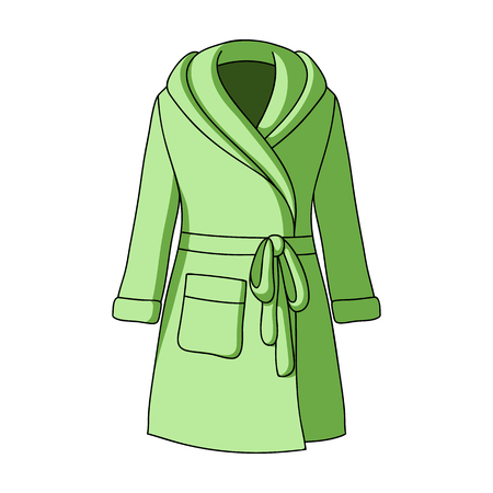 Green ladys gown after bath. Home clothes for women. Woman clothes single icon in cartoon style vector symbol stock web illustration.