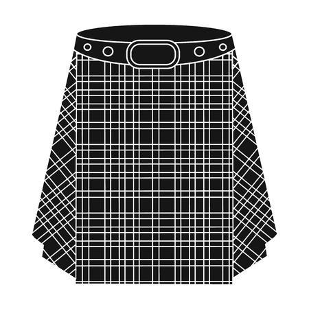 Scottish tartan kilt.The mens skirt for the Scots.Scotland single icon in black style vector symbol stock illustration.