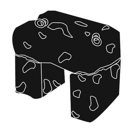 The stone seat.Ancient chair ancient Scots. Scotland country symbol .Scotland single icon in black style vector symbol stock illustration.