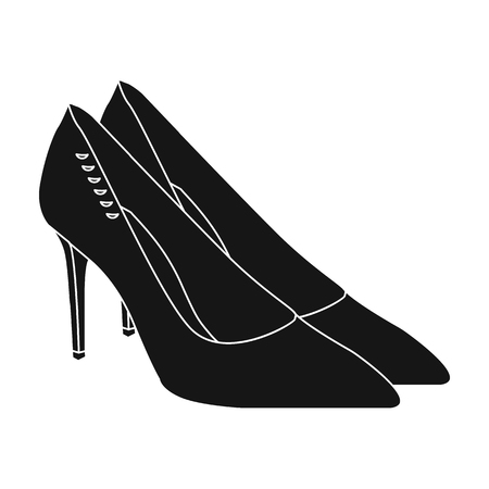 women s clothes: Women s leather shoes with heels. Casual shoes for women dress. Woman clothes single icon in black style vector symbol stock illustration.