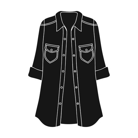 Women s jacket with buttons and short sleeves. Casual wear for the stylish woman.Women clothing single icon in black style vector symbol stock illustration.