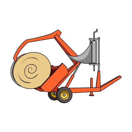 Modern agricultural machinery for  of hay and rolling circles.Agricultural Machinery single icon in cartoon style vector symbol stock illustration.