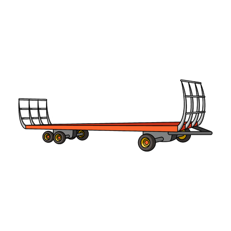 hauling: Specialized trailer on wheels for trucks for transportation of hay bales.Agricultural Machinery single icon in cartoon style vector symbol stock illustration.