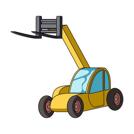 fork lifts trucks: The car lift for loading cargo into the truck for transportation.Agricultural Machinery single icon in cartoon style vector symbol stock illustration.