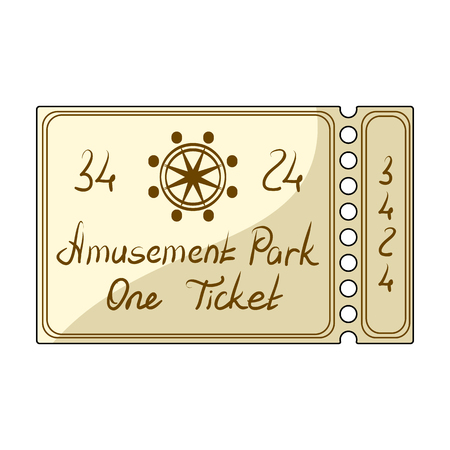 admit: Ticket for passage to the territory of the amusement park.Amusement park single icon in cartoon style vector symbol stock illustration. Illustration