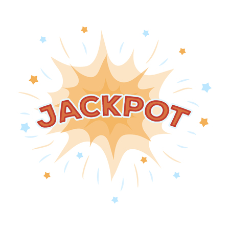 Jackpot, winnings at the casino. The greatest win in the game club.Kasino single icon in cartoon style vector symbol stock illustration. Illustration