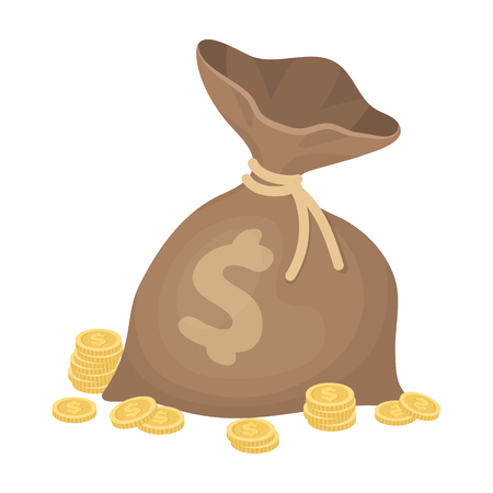 A brown bag with coins and dollars. Win in the casino.Kasino single icon in cartoon style vector symbol stock illustration. Illustration