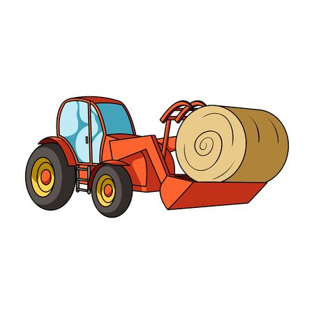 Orange tractor with a ladle transporting hay bale. Agricultural vehicles.Agricultural Machinery single icon in cartoon style vector symbol stock illustration.