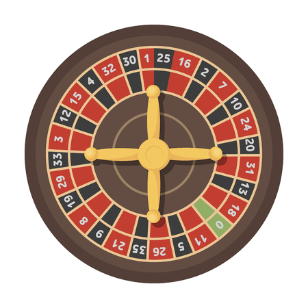 most popular: Roulette with red and black cells. The most popular casino game in the world.Kasino single icon in cartoon style vector symbol stock illustration.
