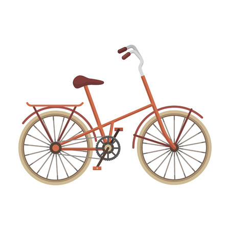 Children s bicycle with low frame and luggage compartment flaps.Different Bicycle single icon in cartoon style vector symbol stock illustration.