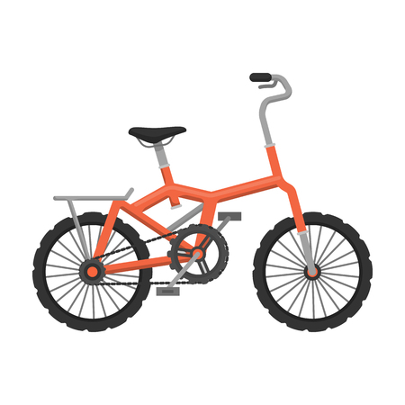 Little orange children s bicycle. Bicycles for children and a healthy lifestyle.Different Bicycle single icon in cartoon style vector symbol stock illustration. Illustration