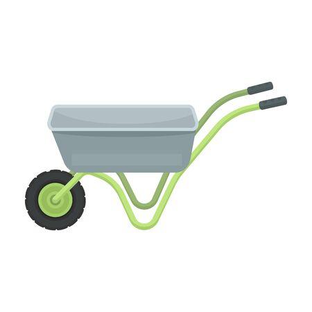 carretilla de mano: Carro de mano con una rueda. Carretilla para el transporte de mercancías alrededor del jardín. Carbón y jardinería solo icono en estilo de dibujos animados vector símbolo stock de ilustración.