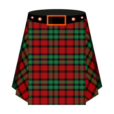 스코틀랜드 타탄 퀼트입니다. 스코틀랜드에 대 한 남자 치마입니다. 만화 스타일 벡터 스코틀랜드 단일 아이콘 스코틀랜드 재고 일러스트 레이 션.