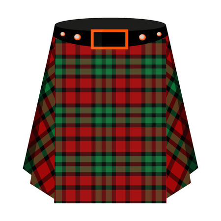 Scottish tartan kilt.The men s skirt for the Scots.Scotland single icon in cartoon style vector symbol stock illustration.