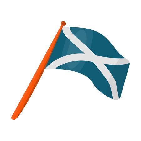 Scotland flag on a wooden stick.The Scottish national flag.Scotland single icon in cartoon style vector symbol stock illustration. Illustration