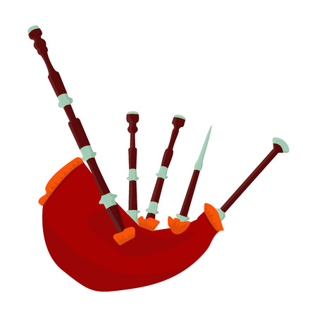Bagpipes from a cow s stomach.The national musical instrument of Scotland.The Symbol Of Scotland.Scotland single icon in cartoon style vector symbol stock illustration.