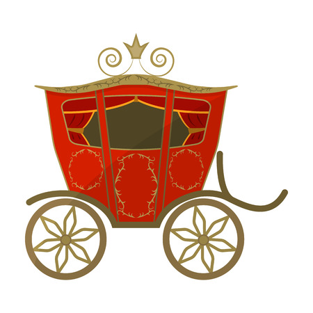 brougham: Wedding carriage. A carriage for the bride and groom.Wedding single icon in cartoon style vector symbol stock illustration.