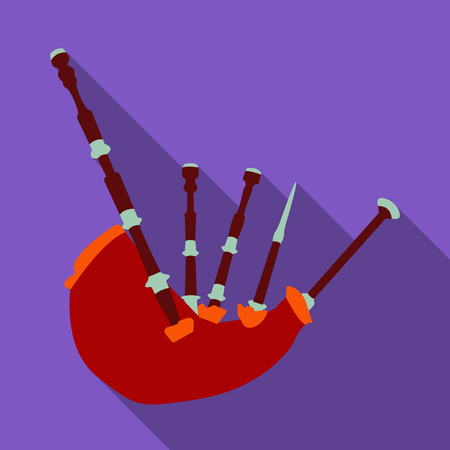 Bagpipes from a cow s stomach.The national musical instrument of Scotland.The Symbol Of Scotland.Scotland single icon in flat style vector symbol stock illustration.