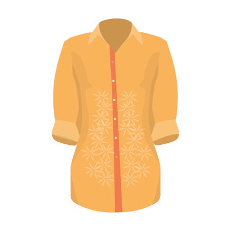 Stylish orange shirt for women. Women dressed in ceremonial clothes.  Woman clothes single icon in cartoon style vector symbol stock illustration.