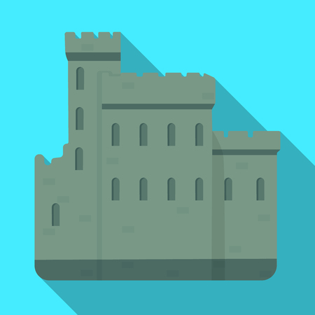 Concrete castle with peaks in Scotland.Fortification of the ancient Scots.Scotland single icon in flat style vector symbol stock illustration.