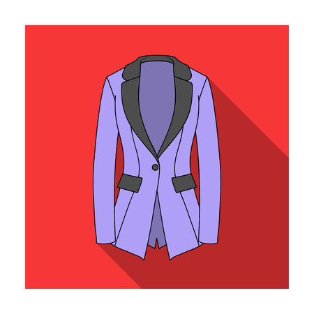 Grey Women s jacket with pockets. Work austere style.Women clothing single icon in flat style vector symbol stock illustration. Illustration