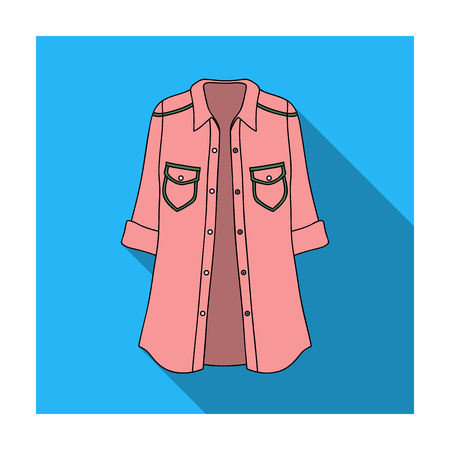 Green Women s jacket with buttons and short sleeves. Casual wear for the stylish woman.Women clothing single icon in flat style vector symbol stock illustration.
