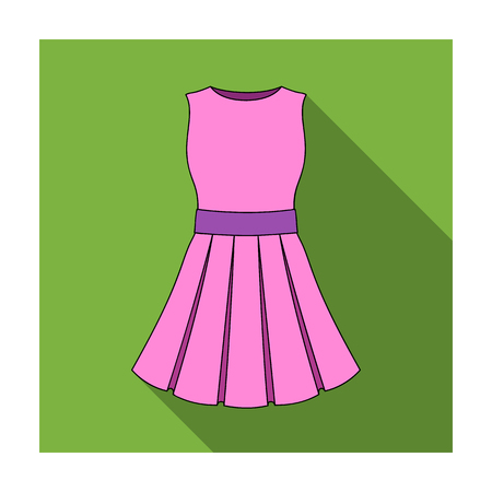 Beautiful light pink summer dress without sleeves. Clothing for a hike to the beach.Women clothing single icon in flat style vector symbol stock illustration.