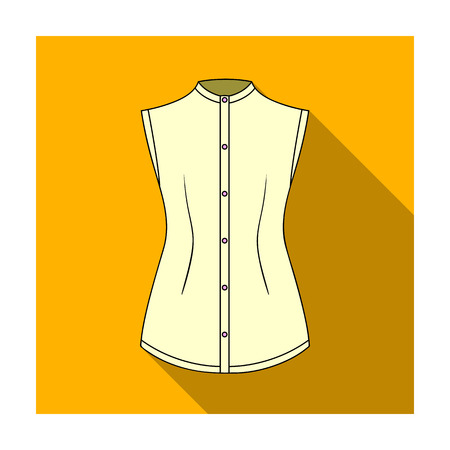gir: Beige button-down shirt without sleeves for the girl. Casual dress style.Women clothing single icon in flat style vector symbol stock illustration.